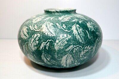 Vintage Mid Century Large Round Vase West Germany 69018 Ceramic Green Pottery