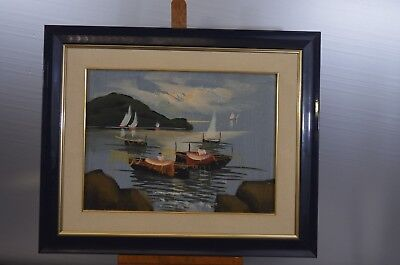 ANTIQUE FRAME WOOD PAINTING ON CANVAS OIL SIGN NATURE BOAT SEA