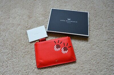Anya Hindmarch Eyes Zipped Pouch Leather