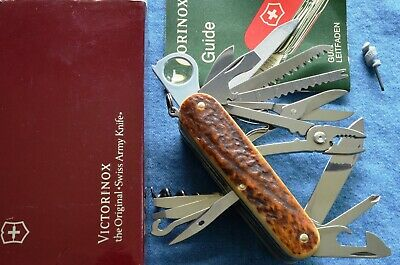 c1990s Vintage, RARE STAGHORN VICTORINOX SwissChamp Swiss Army Knife NEW IN BOX