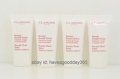 4 Clarins Beauty Flash Balm Brighten Tighten 0.5 oz Each, Lot 4 = 2 oz Total New