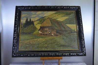 ANTIQUE PAINTING CANVAS OF 1923 PAINTING OIL FRAME WOOD BLACKENED NAPOLEON SIGN