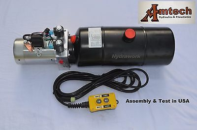 4208c Hydraulic Power Unit Hydraulic Pump12v Double Acting8qt Dump Trailer