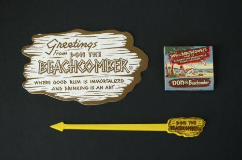 Don The Beachcomber Huntington Beach Lot Swizzle Stick Coaster Rare Matchbook