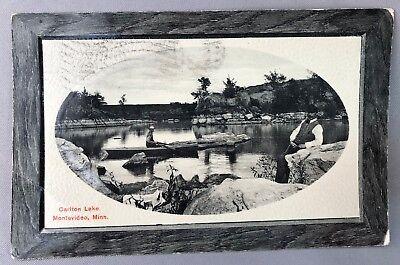 1921 MONTEVIDEO Minnesota ROW BOAT in CARLTON LAKE Postcard ANTIQUE Original
