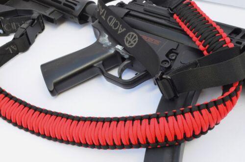 "60"" Tactical 550 Paracord Gun Rifle Bow Shotgun Sling 1 or 2 Point RED BLACK"