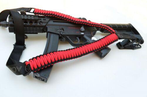 Tactical 550 Paracord Rifle Shotgun Gun Sling Single 1 Point w/QD RED / BLACK