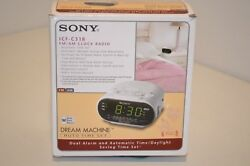 NEW SONY ICF-C318 DREAM MACHINE White Auto Time Set Dual Alarm Clock Radio Free