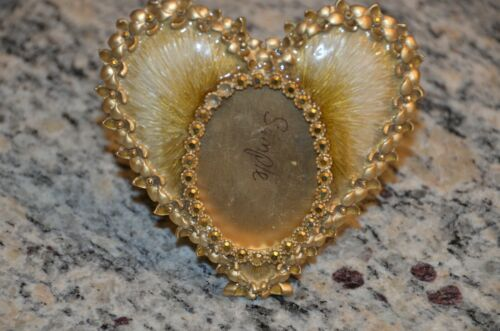 RARE JAY STRONGWATER DOMINIQUE GOLD HEART FLOWER STONE CRYSTAL ENAMEL OVAL FRAME