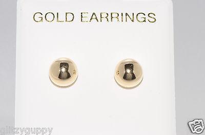 10k Gold Ball Earrings - 10k Genuine Yellow Gold Ball Stud Earrings Shiny High Polish Mens Womens Unisex