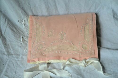 Antique French pure silk padded pouch or boudoir cover, white work, LR monogram
