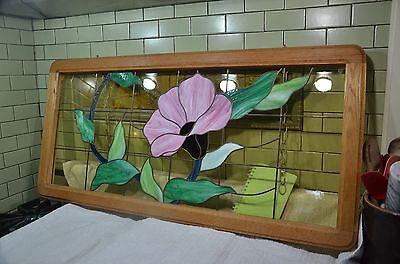 "STUNNING 46"" x 22"" Artist Signed stained glass window MORNING GLORY, Tiger Oak"