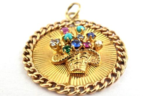 14k Gold And Colored Stone Vintage Charm/Pendant