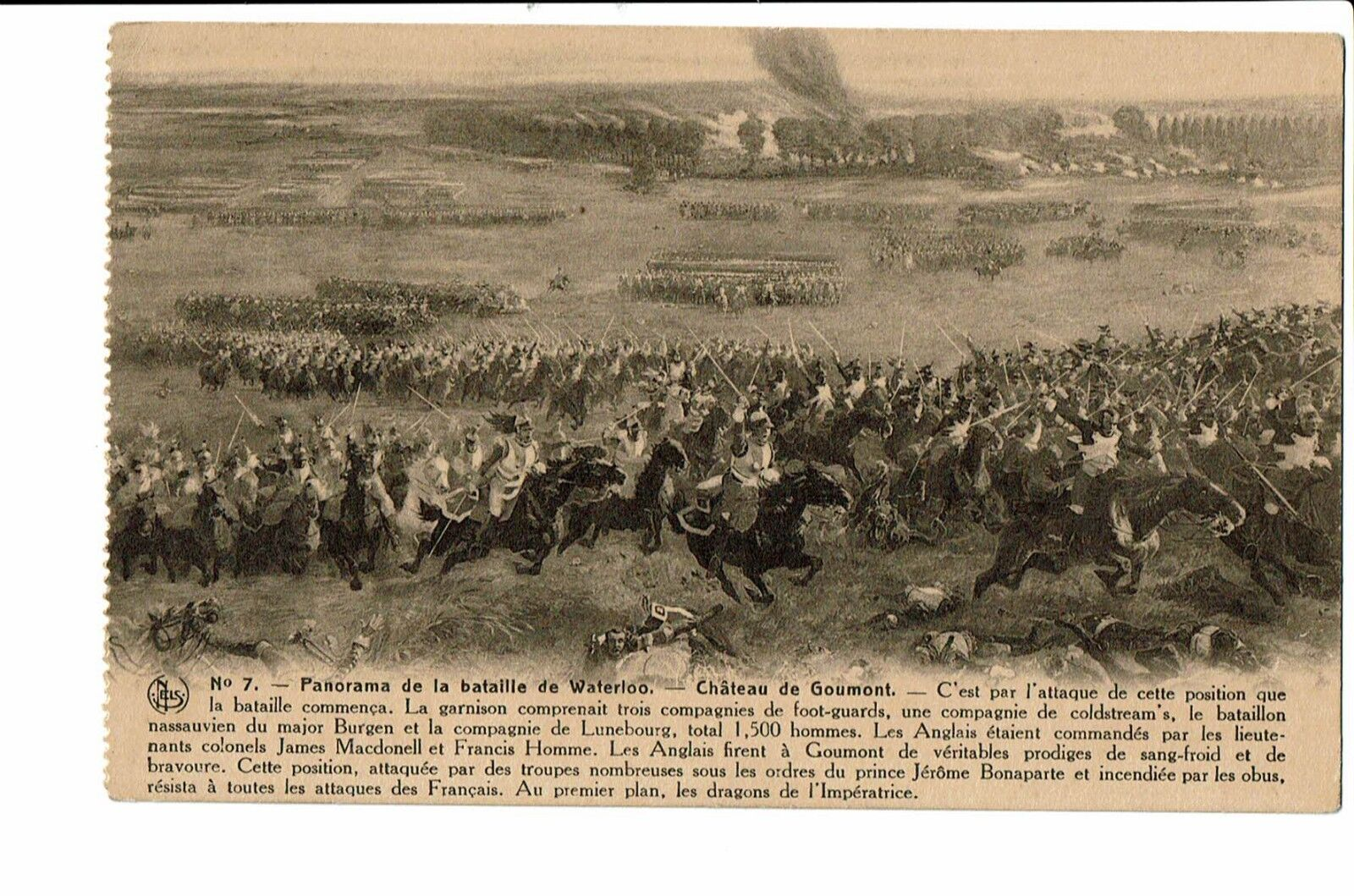 CPA-Carte Postale-BELGIQUE-Waterloo Panorama de la bataille-Château de Goumont