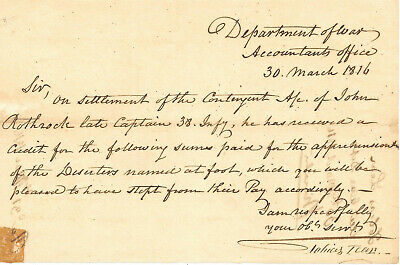 REVOLUTIONARY WAR TOBIAS LEAR GEORGE WASHINGTON SECRETARY LETTER SIGNED 1816