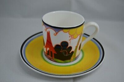 LTD  EDITION WEDGWOOD CLARICE CLIFF CAFE CHIC COFFEE CUP AND SAUCER SUMMERHOUSE Wedgwood Cafe