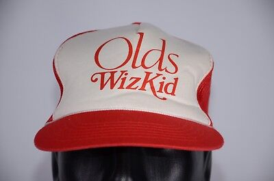 20bbfe389afa4 Vintage Olds Wiz Kid Mesh Back Snapback Hat Red Auto Dad Hat Fun Car C.V.  Cotton