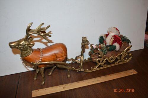 """Brass Sleigh Santa Reindeer Table top display Decoration vintage 18"""""""