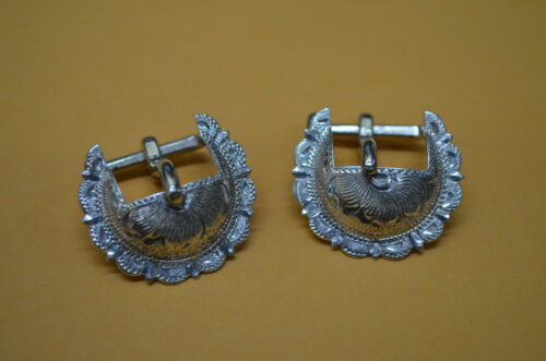 """RARE Cortes Sterling Silver Overlay Concho Buckles *Bridles & Headstalls - 5/8"""""""