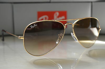 RAY BAN AVIATOR RB3025 58-14 Sunglasses Light Brown Gradient Lens, Gold Frame
