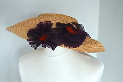 Floral Straw Hat (Fabulous BAILEY TOMLIN Vintage wide brim straw hat with floral embellishment)