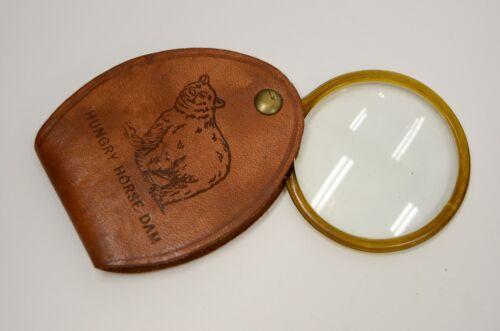 Hungry Horse Dam Souvenir Leather Pocket Folding Magnifying Glass w/Bear Vtg