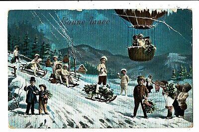 CPA - Carte postale Belgique-Bonne Année -une multitude d'enfants dans  la neige