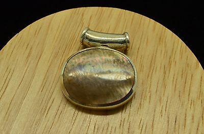 Abalone Sterling Silver Slide Pendant - 925 STERLING SILVER ROUND ABALONE SHELL SLIDE PENDANT CHARM #X18509