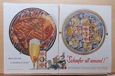 1959 two page magazine ad for Schaefer, BBQ steak, icy tub of beer, Best