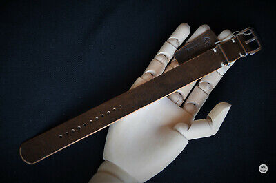 22 mm cinturino nato tipo RAF Vintage Handcrafted Italy Leather Watch Strap...