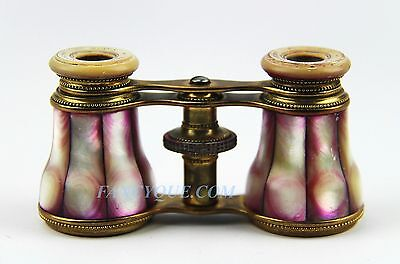ANTIQUE FRENCH OPERA GLASSES PINK RAINBOW MOTHER OF PEARL # 166 PARIS