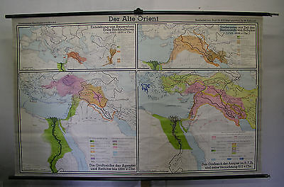 Schulwandkarte Asian Africa Old Orient Culture 1969 Babylon Egypt Nil