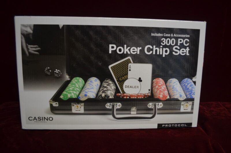 "Casino protocol 300 piece poker chip set (new) 3"" height x 16"" long & 10"" wide."