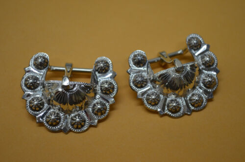 """Finest Berry Bead Silver Overlay Concho Buckles for Bridles & Headstalls 5/8 th"""""""