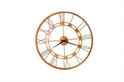 Metal Skeleton Copper Rustic Antiqued Big Vintage Art Deco Roman Wall Clock 20''