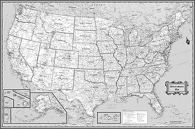 Usa Classic Black   White Wall Map Poster   36 X24  Rolled Laminated 2017