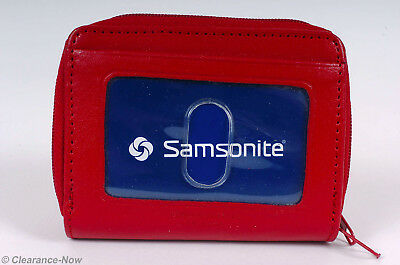 Samsonite Red Leather Sm ID Wallet Accordion Style Outside ID Window New 6951