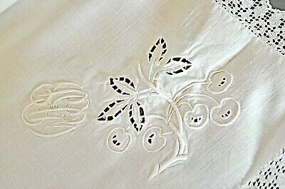 Set of 5 Vintage Square Linen Cotton Hand Embroidered Floral Cutwork Tablecloth Napkins White and Blue Scalloped Edges