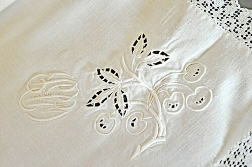 """6 Antique Linen Napkins with Hand Embroidery & """"WRB"""" Monogram VV623"""