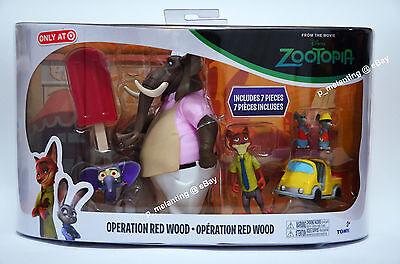TOMY Disney Zootopia Toy Figure set Operation Red Wood Nick Wilde FINNICK 7 Pcs