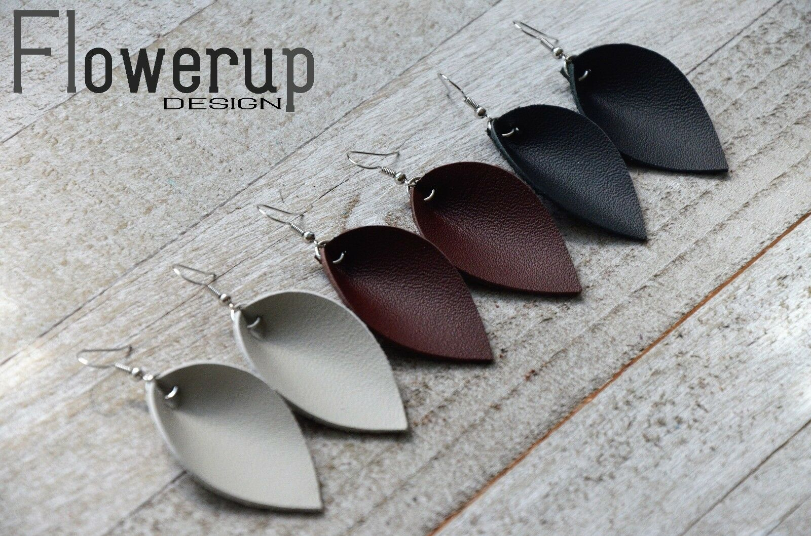 Leather Earrings, Set of 3, brown black gray special offer,