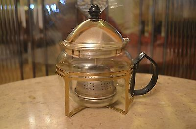 Vintage One Cup Glass Teapot with Basket Infuser