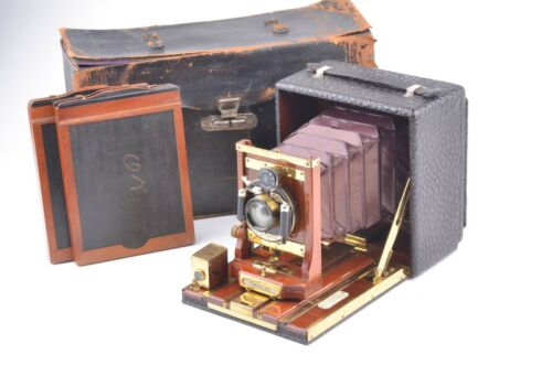 EXC++ BEAUTIFUL CENTURY 4x5 RED BELLOWED CAMERA, 2X FILM HOLDERS, CASE, LENS