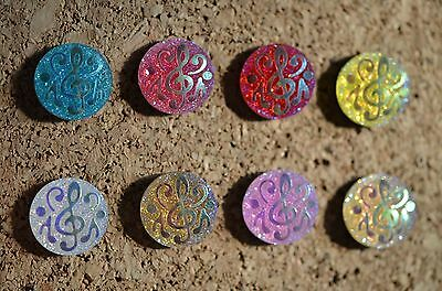 (Set of 8 MUSIC G CLEF bulletin board pushpins, thumbtacks, or magnets)