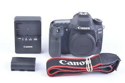MINT- CANON EOS 80D 24.2MP DSLR BODY, BATT+CHARGER+STRAP ONLY 3856 ACTS!!