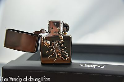 awesome ZIPPO Golden Scorpion lighter - rare limited collectible in Zippo frame