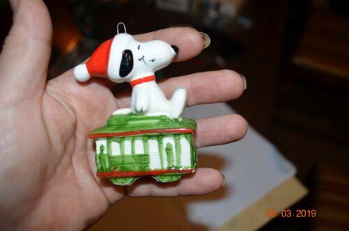 Vintage Ceramic Snoopy Peanuts Christmas Ornament 1966
