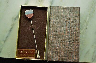 STERLING SILVER & GENUINE COPPER HEART HAT / LAPEL STICK PIN -NEW IN BOX