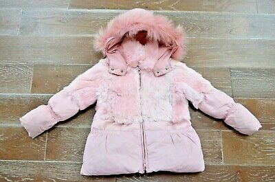 Miss Grant Microbe real rabbit fur girls pink coat girls $300 Size 5