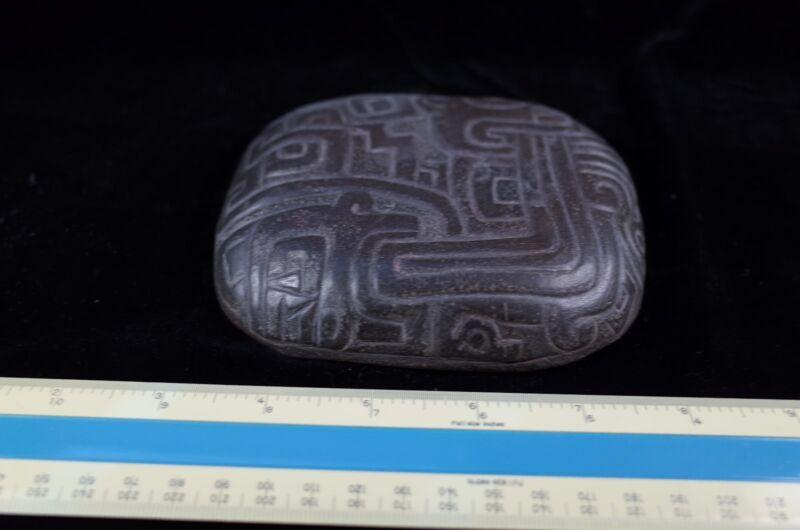Pre-Columbian MesoAmerican Black Stone Snuff Pallette